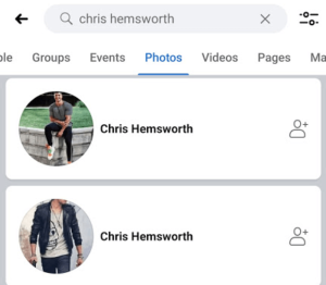 Facebook advanced search with photos