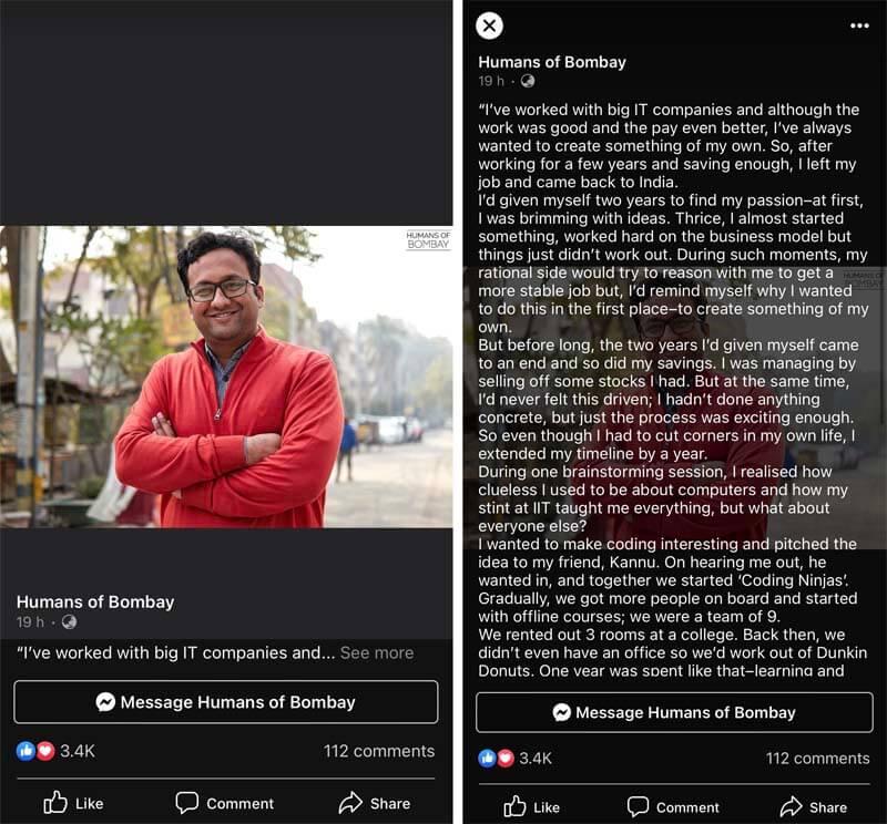 Humans Of Bombay Storytelling On Facebook